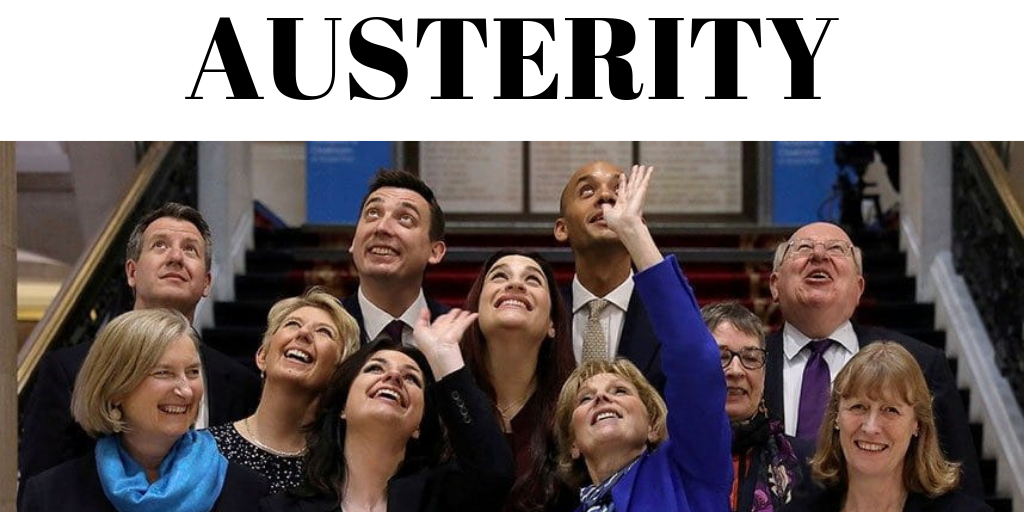 The Independent Group of MPs looking upwards towards the word austerity whilst happy