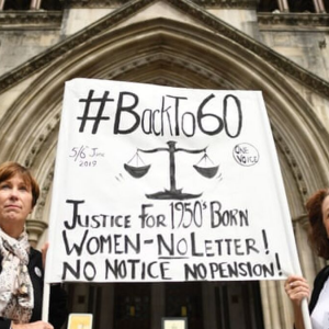 Two BackTo60 Pension Campaigners Outside The High Court in London