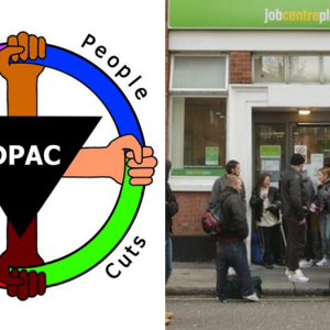 Disabled People Against Cuts DPAC Logo and a Job centre plus queue