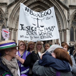 Back to 60 women standing outdide the High Court in London