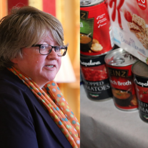 This shows Therese Coffey split screen with a foodbank donation