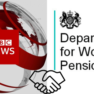BBC News and DWP Logos with Handshake